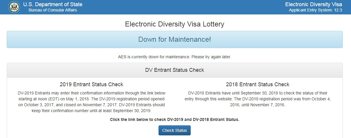 www.dvlottery.state.gov Website Down for Maintenance